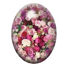 Cabochon en Verre Illustré Fleurs 30x40mm