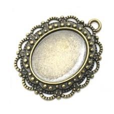 2 Supports Pendentif  Bronze pour Cabochon 14x18mm pour la Création de Bijoux Fantaisie - DIY