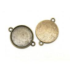 4 Supports Pendentif Connecteur Bronze pour Cabochon 20mm