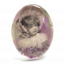 Cabochon en Verre Illustré Vintage Petite Fille 30x40mm