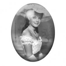 Cabochon en Verre Illustré Sissi Noir et Blanc Vintage 30x40mm