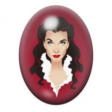 Cabochon en Verre Illustré Scarlett O'Hara Vintage 13x18, 18x25 ou 30x40mm pour la Création de Bijoux Fantaisie - DIY