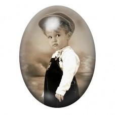 Cabochon en Verre Illustré Petit Garçon Vintage 13x18, 18x25 ou 30x40mm pour la Création de Bijoux Fantaisie - DIY