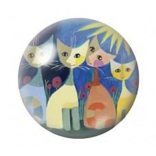 Cabochon en Verre Illustré Chats Colorés 18, 20 ou 25mm pour la Création de Bijoux Fantaisie - DIY