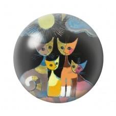 Cabochon en Verre Illustré Chats Colorés 25mm