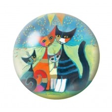 Cabochon en Verre Illustré Chats Colorés 25mm