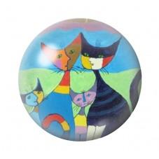 Cabochon en Verre Illustré Chats Colorés 12 à 25mm pour la Création de Bijoux Fantaisie - DIY