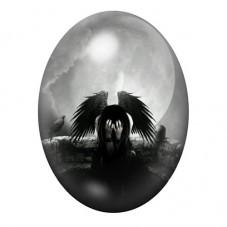 Cabochon en Verre Illustré Ange Gothique 30x40mm