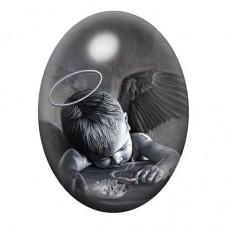 Cabochon en Verre Illustré Bébé Ange Gothique 30x40mm