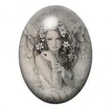 Cabochon en Verre Illustré Ange Fleurs 30x40mm