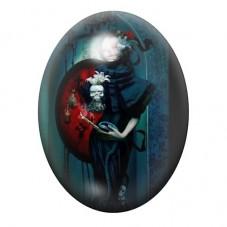 Cabochon en Verre Illustré Jour des Morts Gothique 30x40mm