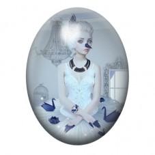 Cabochon en Verre Illustré Ballerine Danseuse Gothique 30x40mm