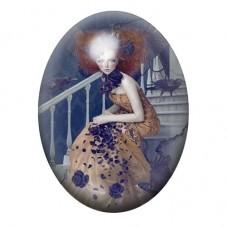 Cabochon en Verre Illustré Femme Gothique 30x40mm