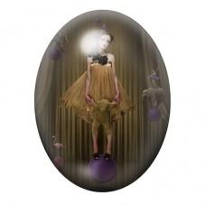 Cabochon en Verre Illustré Femme Cirque Gothique 30x40mm