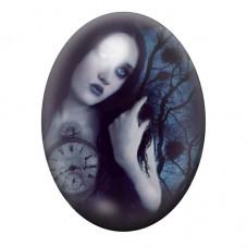 Cabochon en Verre Illustré Femme Horloge Gothique 30x40mm