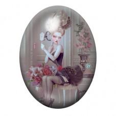 Cabochon en Verre Illustré Marquise Gothique 30x40mm