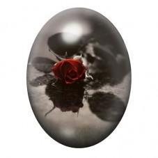 Cabochon en Verre Illustré Rose Rouge Fleur Gothique 30x40mm