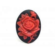 Camée Cabochon Fleurs Rose Rouge Haute Qualité AAAA+ 30x40mm pour la Création de Bijoux Fantaisie - DIY