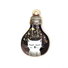 2 Breloques Forme Ampoule Chat en Émail Métal Doré 28x17mm pour la Création de Bijoux Fantaisie - DIY