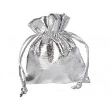 4 Sachets en Tissu Brillant avec Lien Coulissant Argenté 7x5,5cm pour la Création de Bijoux Fantaisie - DIY