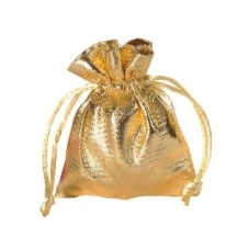 4 Sachets en Tissu Brillant avec Lien Coulissant Or Doré 7x5,5cm pour la Création de Bijoux Fantaisie - DIY