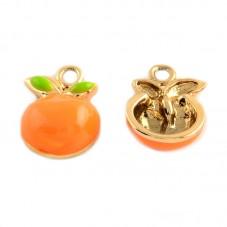 2 Breloques Fruit Abricot en Émail Métal Doré 17x12mm pour la Création de Bijoux Fantaisie - DIY