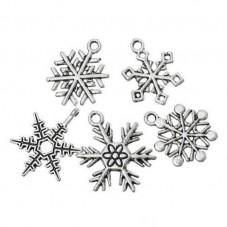 30 Breloques Flocon de Neige Argenté Thème Noël 17-24mm pour la Création de Bijoux Fantaisie - DIY