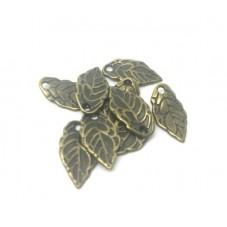 10 Breloques Feuille Bronze 6x8mm pour la Création de Bijoux Fantaisie - DIY