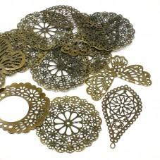 5 Grandes Breloques Connecteurs Estampes Filigrane Bronze 43-80mm pour la Création de Bijoux Fantaisie - DIY