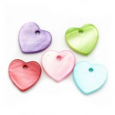 5 Breloques Coeur en Nacre Multicolore 14mm