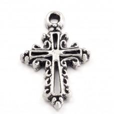 5 Breloques Croix Argenté Gothique 20x14mm