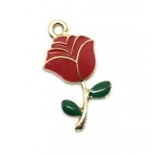 2 Breloques Rose Rouge Fleur en Émail Métal Doré 23x12mm