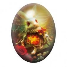 Cabochon en Verre Illustré Lapin Blanc Alice au Pays des Merveilles 30x40mm