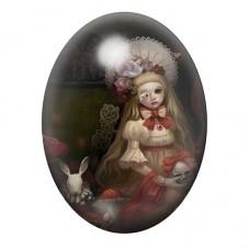 Cabochon en Verre Illustré Alice au Pays des Merveilles Gothique 13x18, 18x25 ou 30x40mm pour la Création de Bijoux Fantaisie -