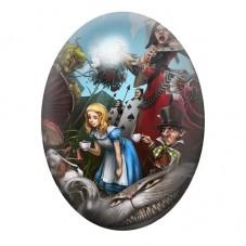 Cabochon en Verre Illustré Alice au Pays des Merveilles 30x40mm