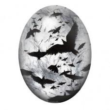 Cabochon en Verre Illustré Corbeaux Gothique 30x40mm