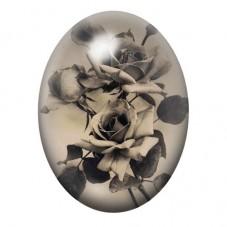 Cabochon en Verre Illustré Rose Fleur Gothique 30x40mm