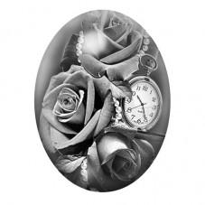 Cabochon en Verre Illustré Rose Fleur Horloge 13x18, 18x25 ou 30x40mm pour la Création de Bijoux Fantaisie - DIY