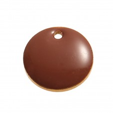 2 Breloques Sequin Émail Chocolat Métal Doré 12mm