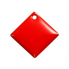 2 Breloques Carré Sequin Émail Rouge Métal Doré 24mm pour la Création de Bijoux Fantaisie - DIY