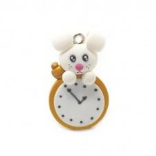 Breloque Lapin Horloge Alice au Pays des Merveilles en Fimo 30x19mm pour la Création de Bijoux Fantaisie - DIY