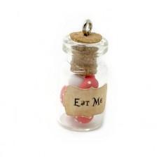 """Breloque Fiole """"Eat Me"""" Alice au Pays des Merveilles en Fimo 23x13mm"""