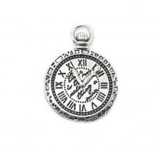 2 Breloques Horloge Argentée Thème Alice au Pays des Merveilles 29x22mm