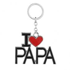 """Porte-Clé avec Clé en Métal """"I Love Papa"""" Cadeau Fête des Pères Anniversaire Noël"""