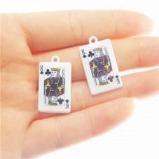 2 Breloques Carte Roi de Trèfle en Émail 26x15mm