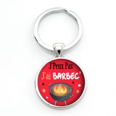 """Porte-clé """"J'peux pas j'ai Barbec'"""" Cadeau Original Humour Anniversaire Noël"""