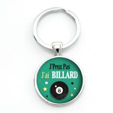 """Porte-clé """"J'peux pas j'ai Billard"""" Cadeau Original Humour Anniversaire Noël"""