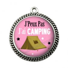 """Pendentif Cabochon en Résine """"J'peux pas j'ai Camping"""" 25mm"""