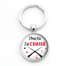 """Porte-clé """"J'peux pas j'ai Chasse"""" Cadeau Original Humour Anniversaire Noël"""