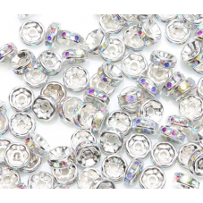 5 Perles Intercalaires Strass en Métal Argenté 8mm pour la Création de Bijoux Fantaisie - DIY